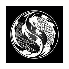 black and white yin yang koi fish prints by jeff bartels