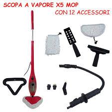 scopa per tappeti elettrica a vapore rossa h2o steam mop 5 in 1 lavapavimenti tappeti