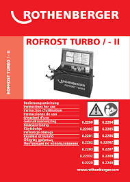 rothenberger rofrost turbo 1 1 4 und 2 user manual 108 pages
