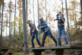 Boys Bench Jeans Boys Standing On Bench In Forest Dancing Stock Photo Picture And