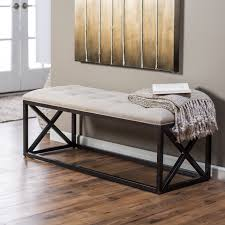 furniture cozy beige tufted bench with dark wood frame on cozy
