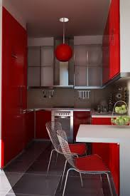 kitchen modern small kitchen design red color cabinet dark