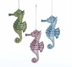 glittered seahorse ornaments 3 assorted kurt s adler