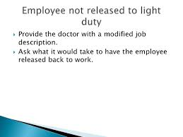 what is light duty work return to work presentation