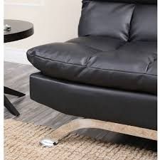 devon u0026 claire parma black leather euro lounger sofa walmart com