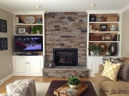 best stacked stone fireplace with built ins shelves around