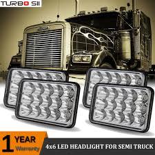 4pcs led headlights for kenworth w900l peterbilt western star