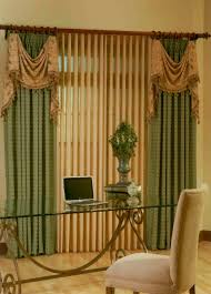 curtains and vertical blinds together decorate the house with