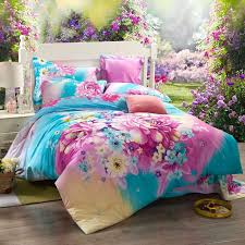 Girls Queen Size Bedding by Bright Colorful Butterfly In Flower Garden Cute Asian Inspired