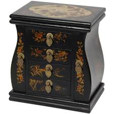 Jewelry Box Mirror Stand Chinese Lacquered U0026 Mirrored Jewelry Box Oriental Design