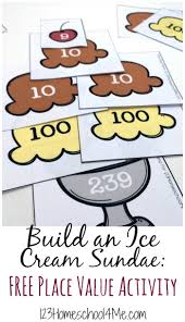printable math games on place value place value ice cream sundae activity