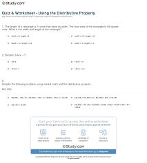quiz u0026 worksheet using the distributive property study com