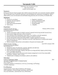 Example Summary For Resume Of Entry Level by Unarmed Security Guard Cover Letter