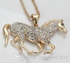 horse necklace pendants images Wholesale gold horse necklace pendants full crystal stone nice jpg