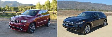 cherokee jeep 2012 2012 jeep grand cherokee srt8 vs 2013 infiniti fx50s mashup review