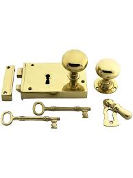 Baldwin Door Stops Large Colonial Brass Rim Lock With Solid Brass Knobs House Of