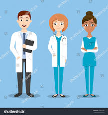 Doctor And Nurse Three Vector Characters Doctor Nurse Medical Stock Vector