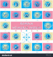 Combination Of Blue by Set Modern Flat Icons Roman Numerals Stock Vector 387018907