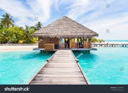 water villas bungalows on perfect tropical stock photo 425668765