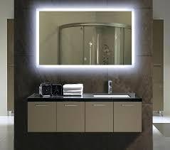 skillful backlit bathroom mirror transitional bathroom photo in