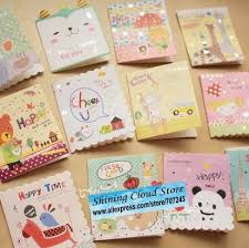 free ship cute cartoon mini card birthday fold small greeting