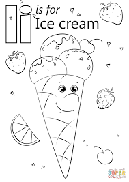 letter i is for ice cream coloring page free printable coloring