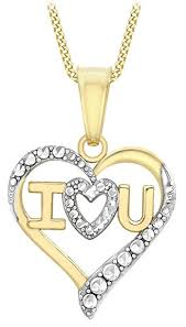love you gold necklace images Carissima gold 9 ct 2 colour gold i love you heart pendant on curb jpg
