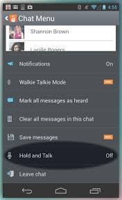 talk android voxer on android users can also use tap to talk by