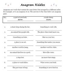word games anagram riddles worksheets