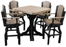 Patio Furniture Counter Height Table Sets Luxcraft Poly Square Table Set With Swivel Chairs Swingsets