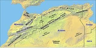 tunisia physical map atlas mountains