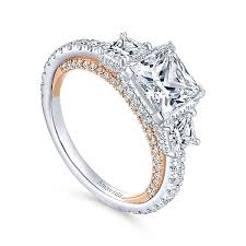 gold rings stones images 18k white rose gold princess cut 3 stones halo diamond engagement jpg