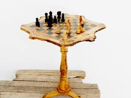 christmas gift olive wood unique rustic chess set table 18