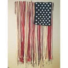 American Flag With Yellow Fringe American Flag Made From Recycled Sheets Beads And Ribbon