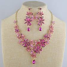 pink rhinestone necklace images 2018 luxury necklace earrings set bridal wedding party jewelry jpg