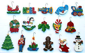 set of 12 wooden ornaments paint by number ornaments