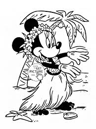 minnie in hawaii coloring page for kids disney for girls coloring