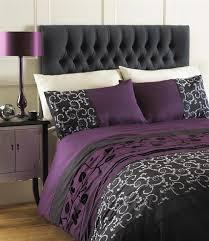 AUBERGINE PLUM  BLACK GREY DOUBLE DUVET QUILT COVER BED SET - Aubergine bedroom ideas