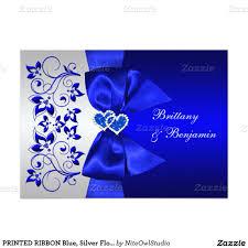 Royal Wedding Invitation Card Printed Ribbon Blue Silver Floral Wedding Invite Printed Ribbon