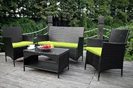Rattan Garden Furniture Sofa Sets Amazon Com Merax 4 Piece Outdoor Pe Rattan Wicker Sofa And