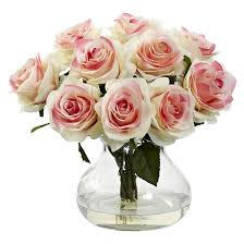 White Roses In A Vase Nearly Natural Rose Arrangement With Vase Target
