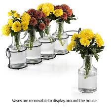 Mini Bud Vases Amazon Com Small Bud Glass Vases In Black Metal Rack Stand