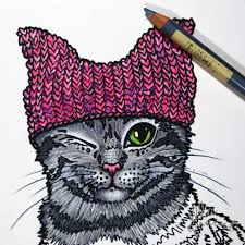pink hat cat colouring coloring page free instant