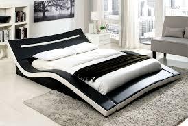 curved bed frame zelina modern black white leatherette curved queen platform bed