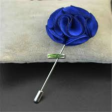 Royal Blue Boutonniere Handmade Silk Fabric Artificial Rose Wedding Party Decoration
