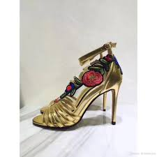 2017ss leather ankle strap sandals gold metallic leather sandals