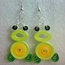 paper ear rings fluorescent yellow quilled paper earrings