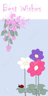 best wishes card with flower and ladybird royalty free cliparts