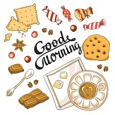 good morning card breakfast menu design stock vector image