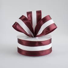 maroon ribbon 1 5 satin team stripe ribbon maroon white 10 yards rn5271cx